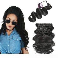 Grampo de cabelo humano da onda do corpo em extensões para mulheres clipe marrom escuro no cabelo de cor preta de extensão de cabelo 14-22 polegadas