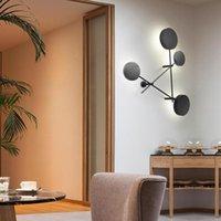 Nórdica moderna simples lâmpadas de parede criativas pretas redonda disco combo parede montada corredor de luz crianças decoração de quarto decoração SCONCE AC