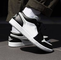 Black and White Basketballschuhe Jumpman 1 Low Shadow 553558-039 Leichter Rauchgrau Whit Frau Männer GoodgoodsNeakers Fashion_clubs des Chaussures Trainer Schuh Top Gut