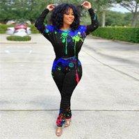 Kadın 2 Parça Kıyafet Sonbahar Uzun Kollu Kravat Dyr Baskı Pantolon 2 adet Set Moda Kadın Tasarımcı Eşofman Tops