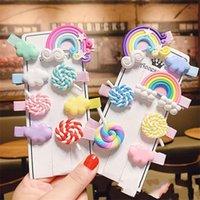 Bella forcella Rainbow Capelli Capelli Accessori Moda Abbigliamento Candy Colors Children Hearwear Lecca-lecca Birrette Nube Nube Natale 0 65SO K2