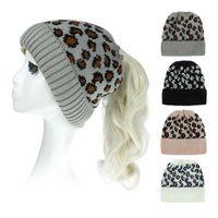 Cappellini del berretto / cranio Goccia veloce autunno inverno di lana lana leopardo stampata a maglia caldo e alla moda cappello all'aperto