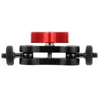 Alüminyum Alaşım Çok Fonksiyonlu Çift Top Kafası Sıcak Ayakkabı 1/4 Inç Tripod Sihirli Kol Montaj Adaptörü DSLR Kamera Aksesuar Monitor1 için