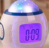 음악 별이 빛나는 하늘 디지털 알람 시계 다채로운 독창성 시계 블루 스크린 별 룸 장식 투사 램프 새로운 19xJ F2