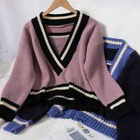 Guuzyuviz Oversized Donne Pullover con scollo a V a strisce maglione lavorato a maglia donna casual vintage crop top autunno inverno maglioni femmina1