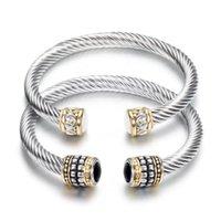 Bracelet en acier rétro européen et américain en acier torsadé en acier torsadé or bracelet à deux couleurs, bracelet de câble en acier inoxydable semi-précable