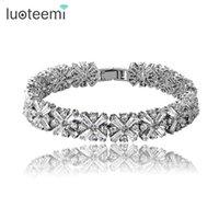 Luoteemi marca nova luxuosa mulheres cadeia bracelete noiva zircão pulgão de alta qualidade cz pulseira de inlay para menina festa y1119