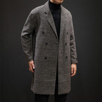 Casual Double Breasted Mens Sovracco in lana Inverno 2020 Giacca HoundSoth Giacca Uomo Cappotto a vento lungo lana