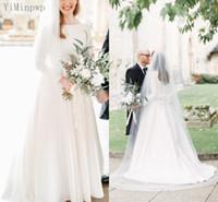 Modest Satin Brautkleider 2021 O Neck Langarm Sweep Train Bedeckt Button Bogen Einfache Kapelle Brautkleider Vestidos de Novia Plus Größe