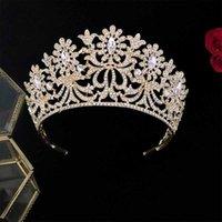 Accesorio para el cabello de lujo Sparkly Hecho a mano Rhinestones Crown Crown Women Tiara Diadema Novia Boda Cabello Joyería Cabeza