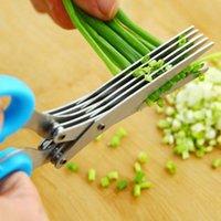 5 طبقات أدوات سكاكين المطبخ متعددة الوظائف الفولاذ المقاوم للصدأ مقص البصل الأخضر تقطيع ورقة مقص أدوات القاطع