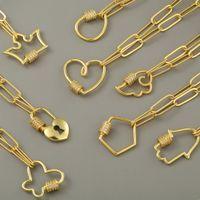 펜던트 목걸이 현대적인 참신 체인 링크 된 Dainty Necklace Tiny T Bar O 인클로저 칼라 여성용 구리 지르콘 DIY 쥬얼리