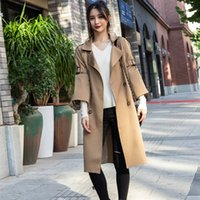 Women' s Double- Breasted Long Trench Coats with belt Lar...