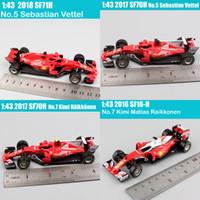Miúdos 1:43 Escala Bburago Racer RB15 SF71H SF90 Kimi Raikkonen Charles Leclerc Sebastian Vettel Modelo Modelo Modelo Toy 2019 Y1130
