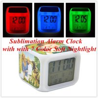 Sublimation Alarm Clock with with 7 Color Soft Nightlight La...
