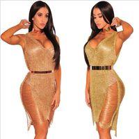 Sexy Femme Beach Cover Ups Mini robe Chaude Vente de la nuit européenne et américaine Club de nuit Rose Gold Gold Jupe Robe XL