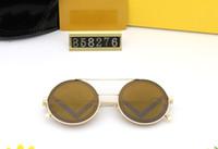 Classic Round Sunglasses Marca Design Projeto UV400 Eyewear Metal Ouro Moldura Sol Óculos Homens Espelho 858276 Óculos de Sol Lente de Vidro Polaroid