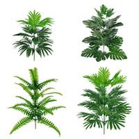 24 رؤساء النباتات الاصطناعية monstera 78 سنتيمتر كبيرة الاستوائية شجرة وهمية النخيل يترك النبات الأخضر الحرير أوراق الشجر حديقة ديكور المنزل الساخن بيع M2