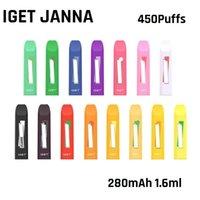 100% original iget Janna Dispositif de podage jetable Janna 450 Puff 280mAh Batterie 1,6 ml prérempli Portable Portable Vape Stick Stick Bar Plus Kit authentique