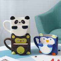 Coppie Tazza dei cartoni animati Tazza in ceramica per bambini con biscotto biscotto tascabile tazza da tazza divertente tazza in ceramica per caffè tazza di tè tazza da viaggio tazza di caffè