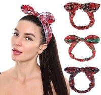 Weihnachten Stirnband Boho Bogen Bandana Knoten Headwrap Retro Elastic Kaninchen-Ohr-Haarband für Mädchen-Frauen Schneeflocke gride IIA891 parttern