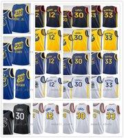 2020-21 Neue Männer Frauen Kinder Jugend Kelly 12 OUbre Jr. James 33 Wiseman Stephen 30 Curry Jerseys Basketball City Navy Schwarz Gelb Blau Weiß