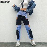 Calças femininas capris rapwriter painéis painéis de patchwork oco out mulheres 2021 streetwear cintura alta lápis moda tornozelo-comprimento carga1