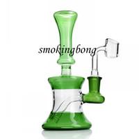 7.0 İnç Yeşil Cam Bong Fab Yumurta Taşınabilir Dab Teçhizat Cam Yağı Kuleleri Benzersiz Nargile Su Bonglar ile 14mm Eklem