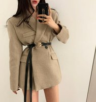 2020 Nuovo Autumn Blazer Donne Solid Antole Manica lunga Cappotto moda Slim Due pulsanti Fake Pocket Giacca Donna Giacca invernale Vestiti invernale1