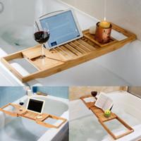 Luxus-Badezimmer Bambus-Badewanne Badewanne Regal Bridge Badewanne Caddy Tray Rack Retraktable Weinglas Buchhalter Badewanne Rack Unterstützung Y1125