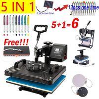 Impressoras 5 em 1 Combo Heat Press Machine Transferência de Sublimação para Camiseta / Placa / Mugbottle / Pen / Cap / Telefone Case1