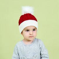 Kid chapeau de Noël Pom Pom Tricot Hiver chaud doux bébé enfant en bas âge Crochet Beanie Oreille Couverture Noël Vert Rouge Enfant Bonneterie Chapeaux LJJP799-2