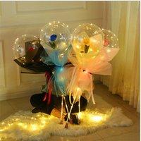LED Aydınlık Balon Gül Buketi Şeffaf Kabarcık Büyülü Gül Bobo Topu 3 M LED Dize Sevgililer Düğün Brithday Dekorasyon E121801