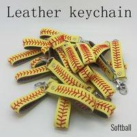 Beyzbol Seamed Deri Anahtarlıklar Softball