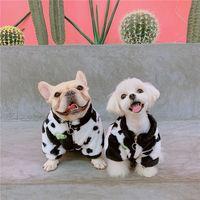 Trendy plus samt kleidung herbst winter hund jacken milch gedruckt haustier hund hoodies kleidung teddy schnauzer pomeranian
