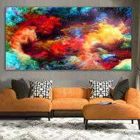 WANGART 캔버스 인쇄 추상 수채화 산산조각 스플래쉬 텍스처는 다채로운 풍경 석유 벽 그림에 대한 거실 회화