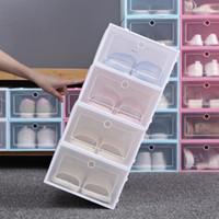 رشاقته واضحة البلاستيك مربع الأحذية الغبار الأحذية تخزين مربع فليب صناديق الأحذية الشفافة لون الحلوى اللون الأحذية المنظم صناديق منظم YL1295