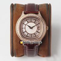 TWF V8-Version New Black -tie G0A35022 MIYOTA 850P Automatische Herrenuhr Diamant-Zifferblatt Rose Gold Diamant-Lünette-Leder-Uhren HELLO_WATCH