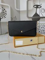 2021 New Luxury Weibliche Designer Pochette Félicie Gold Kette Umhängetasche Messenger Bags Münzsack Kupplungsbeutel Messenger Bag mit Kasten