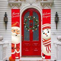 Couplet de Natal bandeira bandeira parede pingentes porta penduradas casais festa de natal suprimentos ao ar livre jardim festa decoração lls297