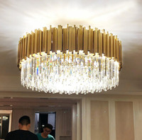 Modern LED crystal chandelier  gold stainless steel lustres cristal lampshade for living room hanging ceiling fixtures