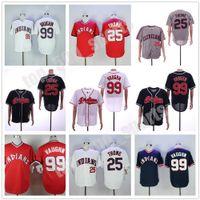 남성 여성 청소년 야구 유니폼 25 짐 Thome 99 Ricky Vaughn 7 Kenny Lofton 24 Manny Ramirez Baseball Jersey
