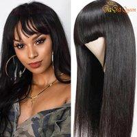 Бразильские прямые человеческие парики волос с челками Полная машина для волос для волос для женщин 150% REMY парик волос