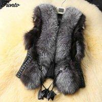 Женский меховой Faux Fionto зимний жилет женская мода артефические жилеты теплые тедди пальто женские женские кожаные куртки1