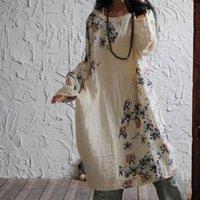 Bahar Artı Boyutu Pamuk Keten Elbiseler Gevşek Vestidos 2020 Orijinal Tasarım Çiçek Baskı Elbise Vintage Uzun Kollu Günlük Dress1