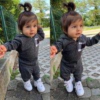 Çocuk Eşofman Bebek Erkek Kız Sonbahar Kış Uzun Kollu Kapşonlu Tops Hoodie Kazak Pantolon Tayt Tops İki Adet Oufits Casual Suit E121604