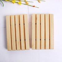 Titular de sabão de madeira artesanal Banheiro de sabão de sabão banheiro pratos com sulco multi funcional ferramenta de armazenamento de cozinha DDE3520