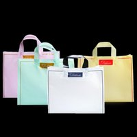 50 pcs espessos grandes sacos de plástico cor pura borda de ouro roupas compras jóias embalagens sacos de presente de plástico com alça
