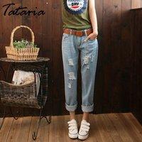 Tataria Damenloch Ripping Jeans Frauen Lose Knöchellangen Harem Hosen Hosen Freund Jeans Für Womens Casual Denim Jeans 201031