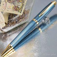 Classic Ballpoint Pen Голубая проволока Рисунок Роскошная металлическая бочка, писать гладкие + запонки + коробка + 2 Дополнительные пополнения подарков + подарок плюшевая сумка